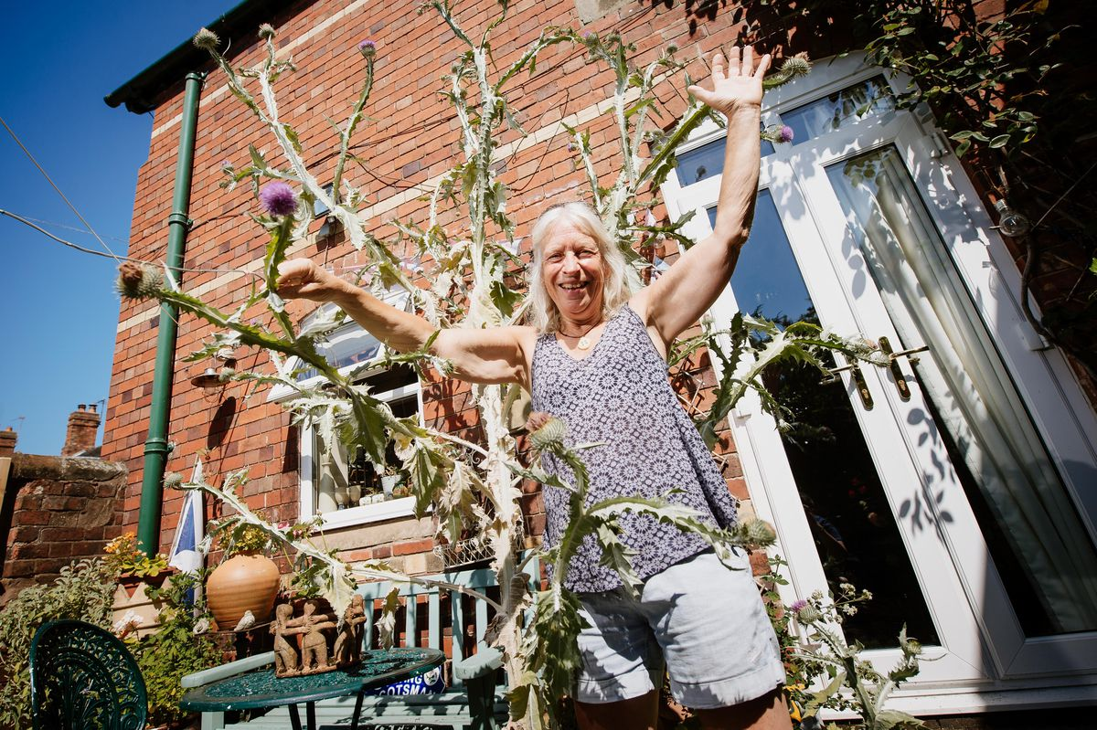 Jade Paton with her 10ft thistle