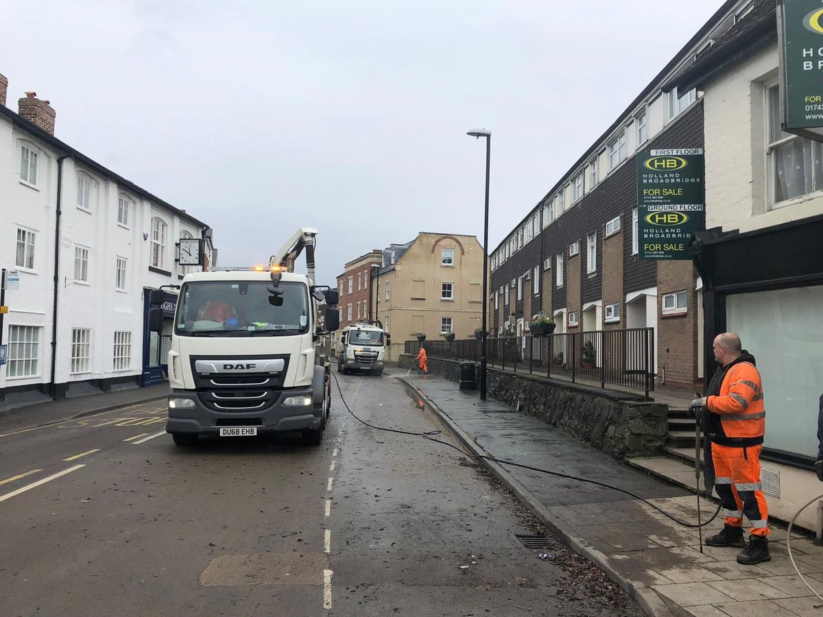 Council workers in Coleham on Wednesday