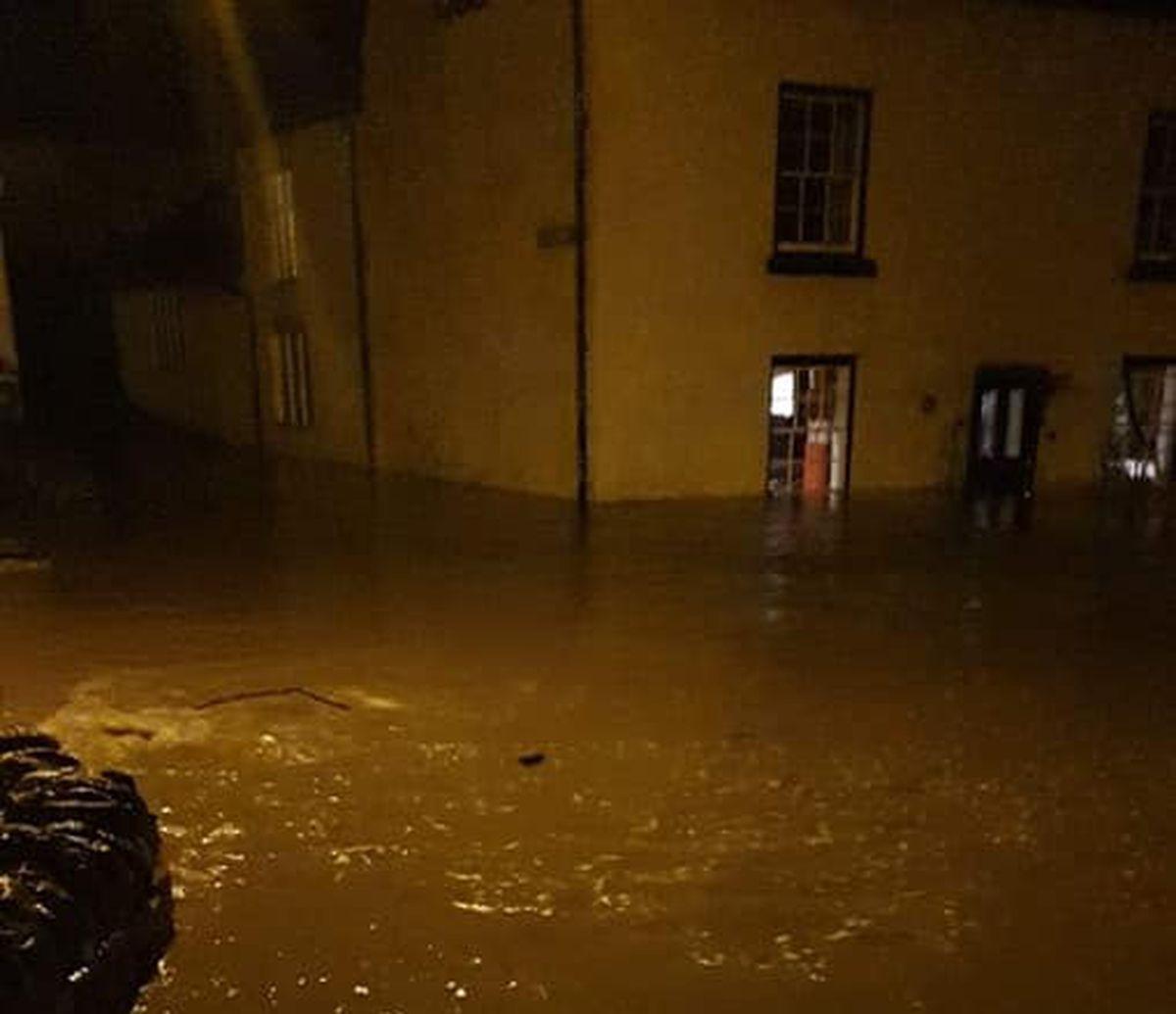 Storm Dennis flooding in Clun. Photo: Nicola Owen