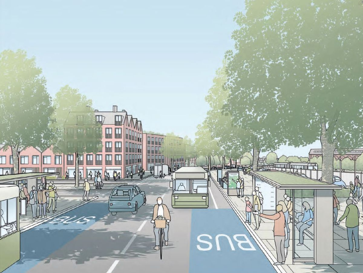 An artist's impression of the eastern gateway in Oswestry