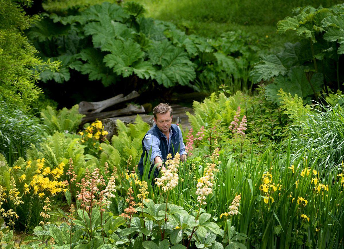 Caspar Gabb in the garden at Woodlands Hall.