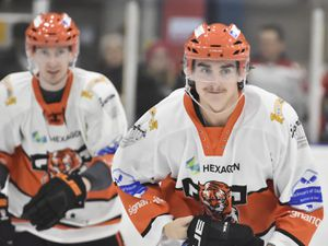 Brandon Whistle after he scored for TigersSwindon Wildcats v Telford Tigers 22/2/20 by Steve Brodie