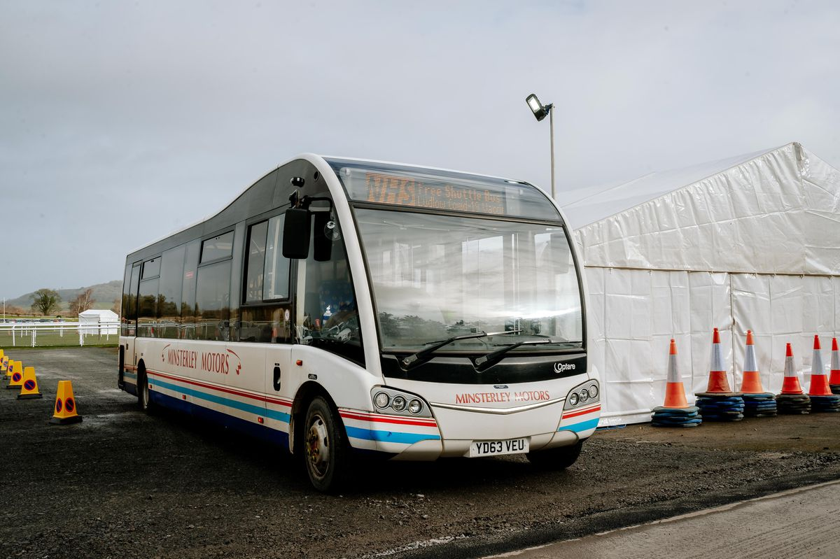 Minsterley Motors have put on shuttle buses to the vaccination centre