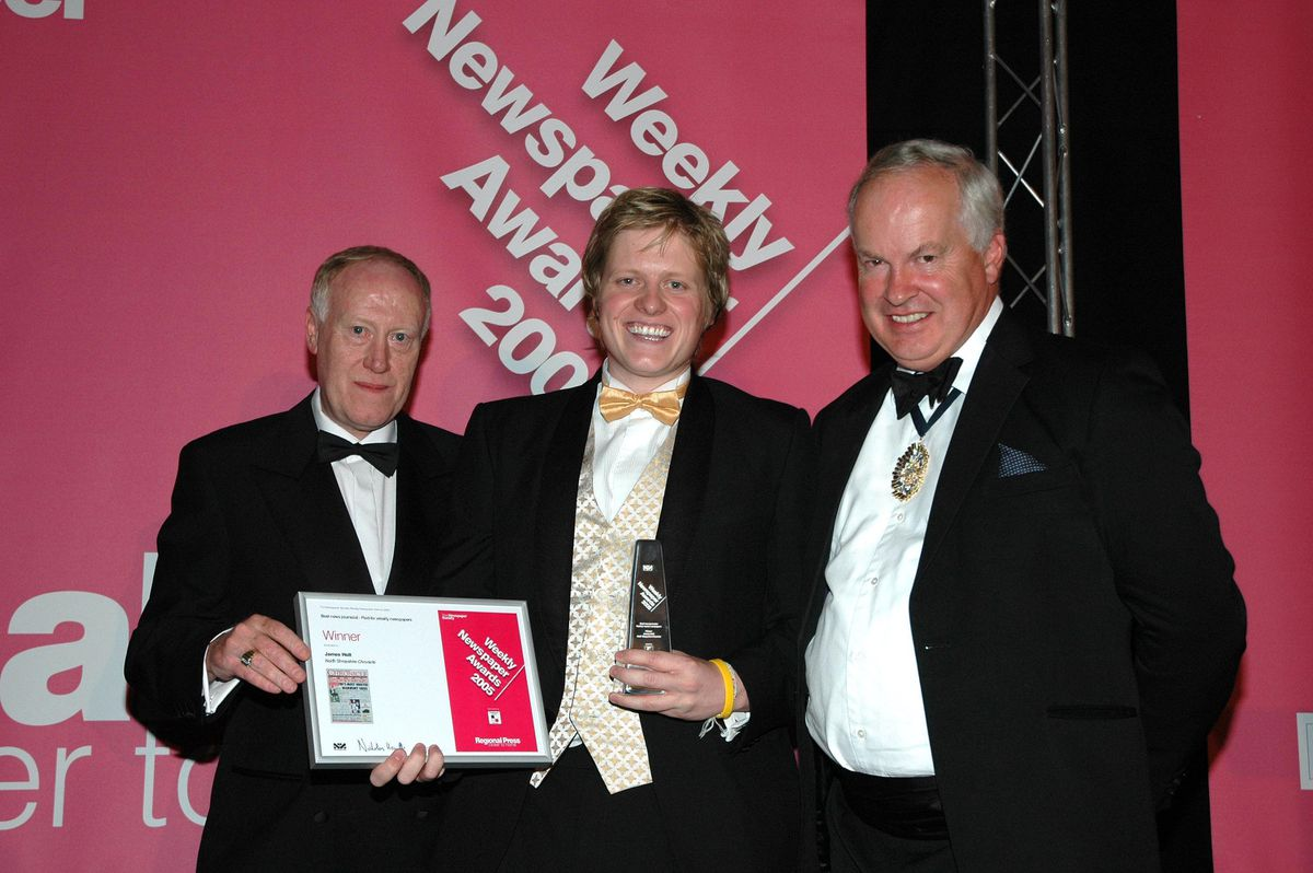 Former Shrewsbury Chronicle reporter James Holt (centre) pictured receiving his weekly journalist of the year award at the 2005 Newspaper Society Awards