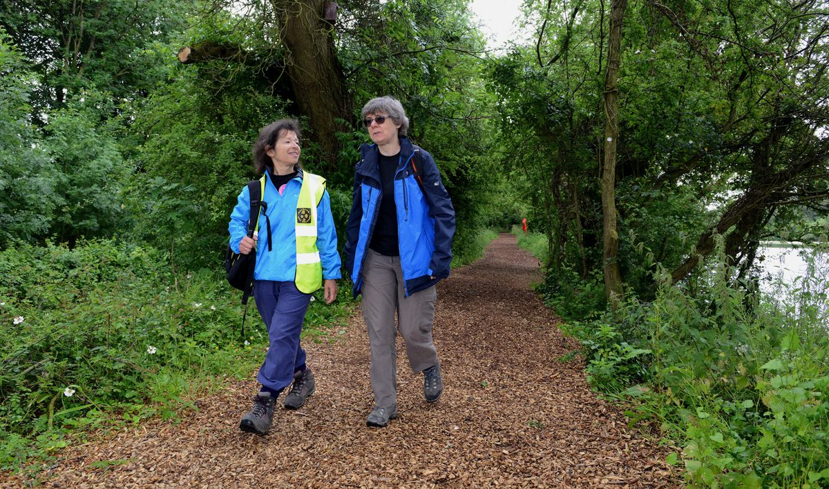 Eve Clevenger, of Wellington Walkers Are Welcome and Kate Ashbrook on the route in 2018