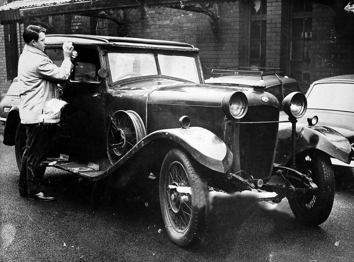 Think you know vintage cars? Go on then, identify this one pictured in Oswestry in about 1961. Having a close look is Ian Lucas, who worked in the town at the Border Counties Advertizer. The car was at a nearby garage. The car was later bought by a motor engineer, Maurice Bethell, and subsequently went to a museum in Scotland. That's a clue to what the car was – an Arrol Aster, which was a Scottish make.