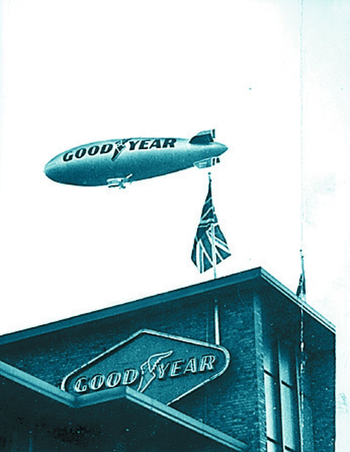 Europa flying over the Goodyear factory in Wolverhampton in July 1972