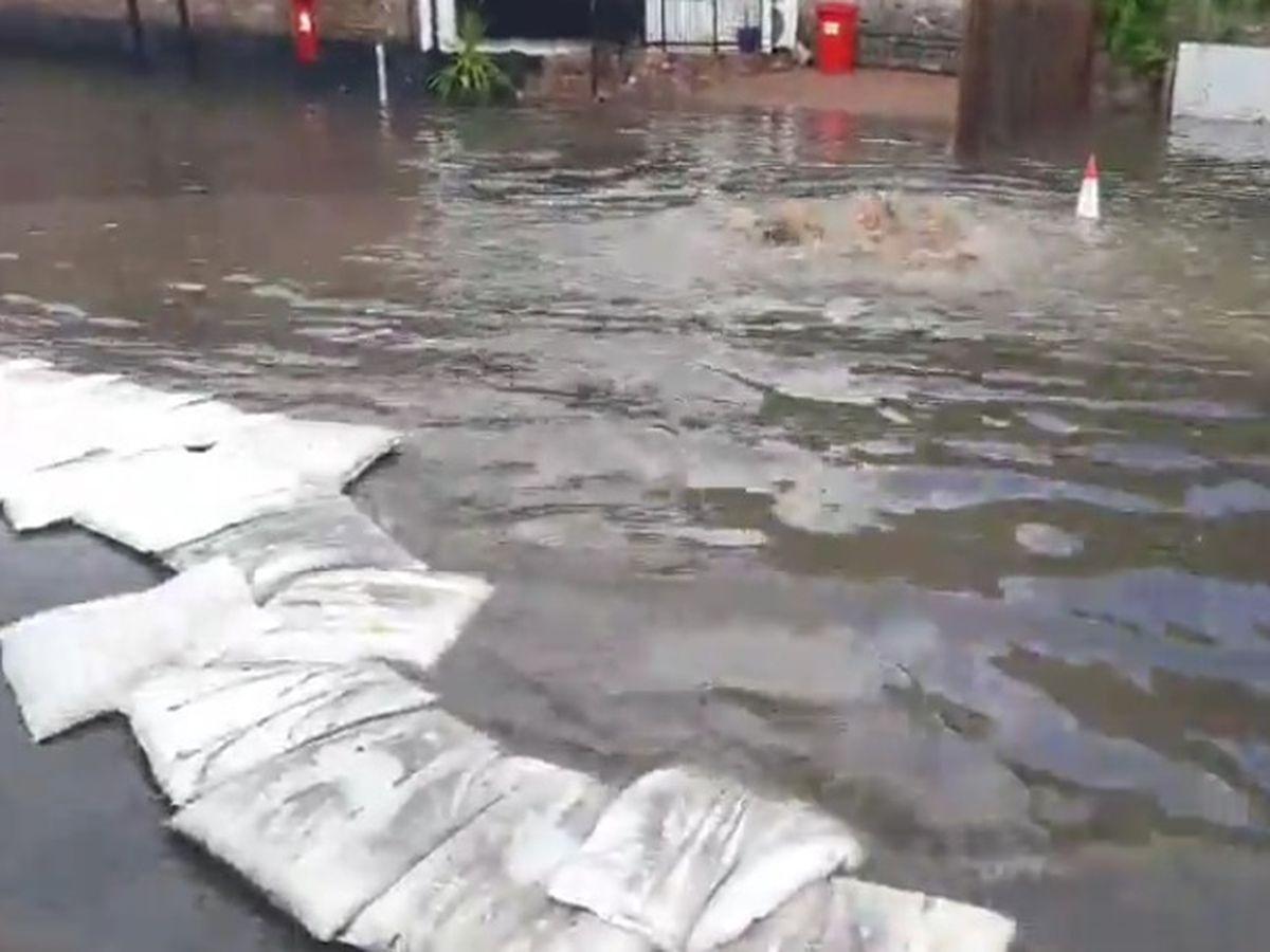 Flash flooding in Ironbridge on Sunday