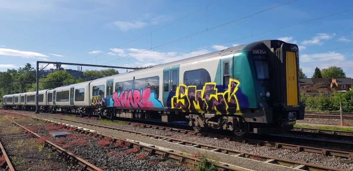 A graffiti-hit carriage belonging to WMR sister company London Northwestern Railway (Image: West Midlands Trains)