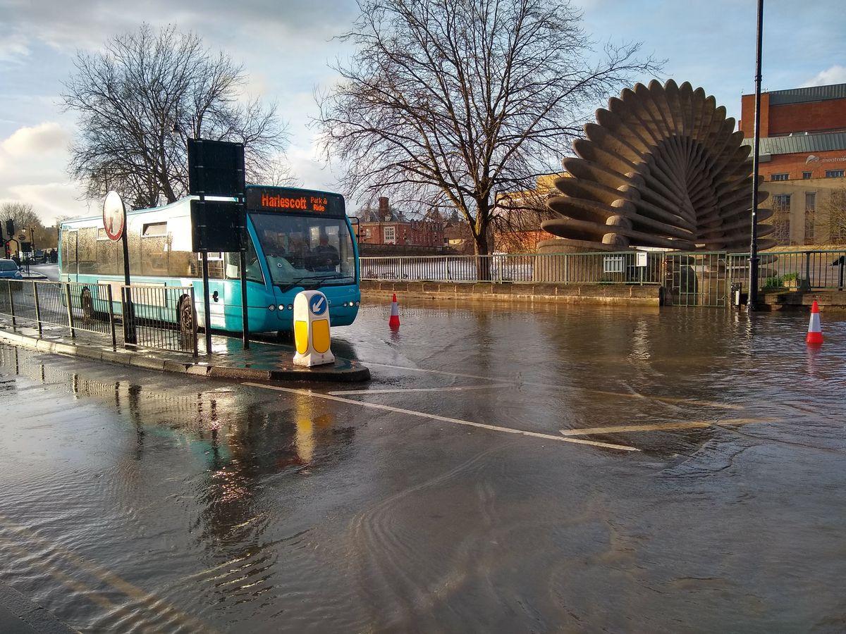 Flooding on Smithfield Road in Shrewsbury town centre