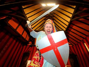 Michel Spencer dressee up as St George at West Bromwich Manor House in 2019