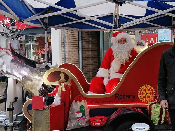 Markets manager for Oswestry Town Council David Clough with Santa
