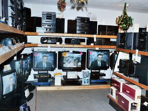 nostalgia pic. Shrewsbury. nostalgia pic in colour. Shropshire Hi-Fi and In-Car Systems, Shrewsbury. This picture was used in the Shropshire Star on Tuesday, January 4, 1994, as part of an advertising feature. This is the store in St Michael's Street. The caption was: 'Just a small selection of the audio and visual equipment on offer at Shropshire Hi-Fi and In-Car Systems.' The accompanying story said it had probably the biggest selection of car audio equipment in the Midlands. This is a print in the Shropshire Star picture archive and the photographer was staff photographer Richard Brock, so it is Shropshire Star copyright. His date on the back of the print is 22.12.93., so it was actually taken on December 22, 1993. Shrewsbury store. Radios. Televisions. Library code: Shrewsbury nostalgia 2020..