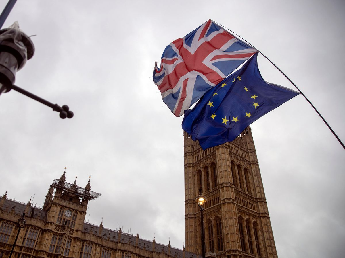Union and EU flags at Westminster