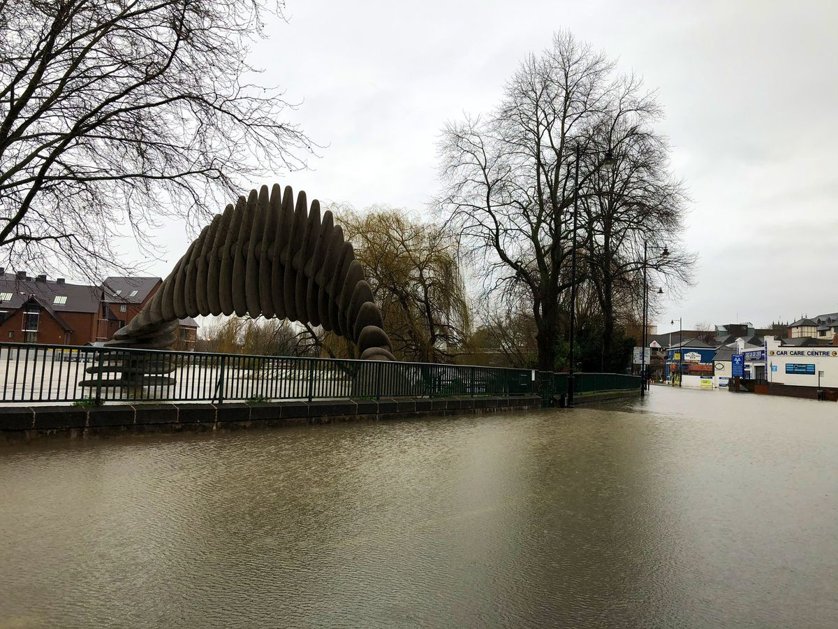 Flooding in Shrewsbury. Photo: @WMASHART