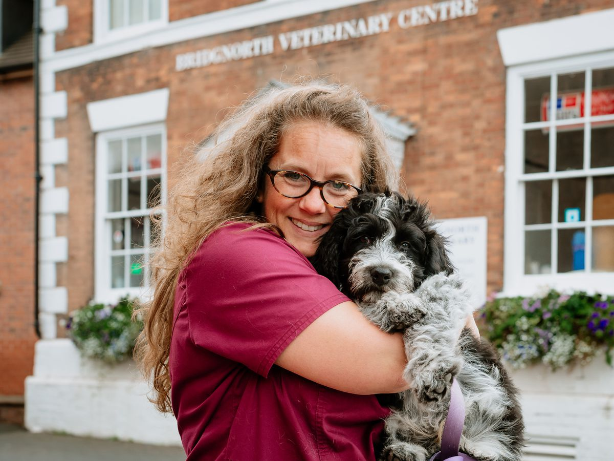 Sarah Probert, owner of Bridgnorth Veterinary Centre, with Digby the dog