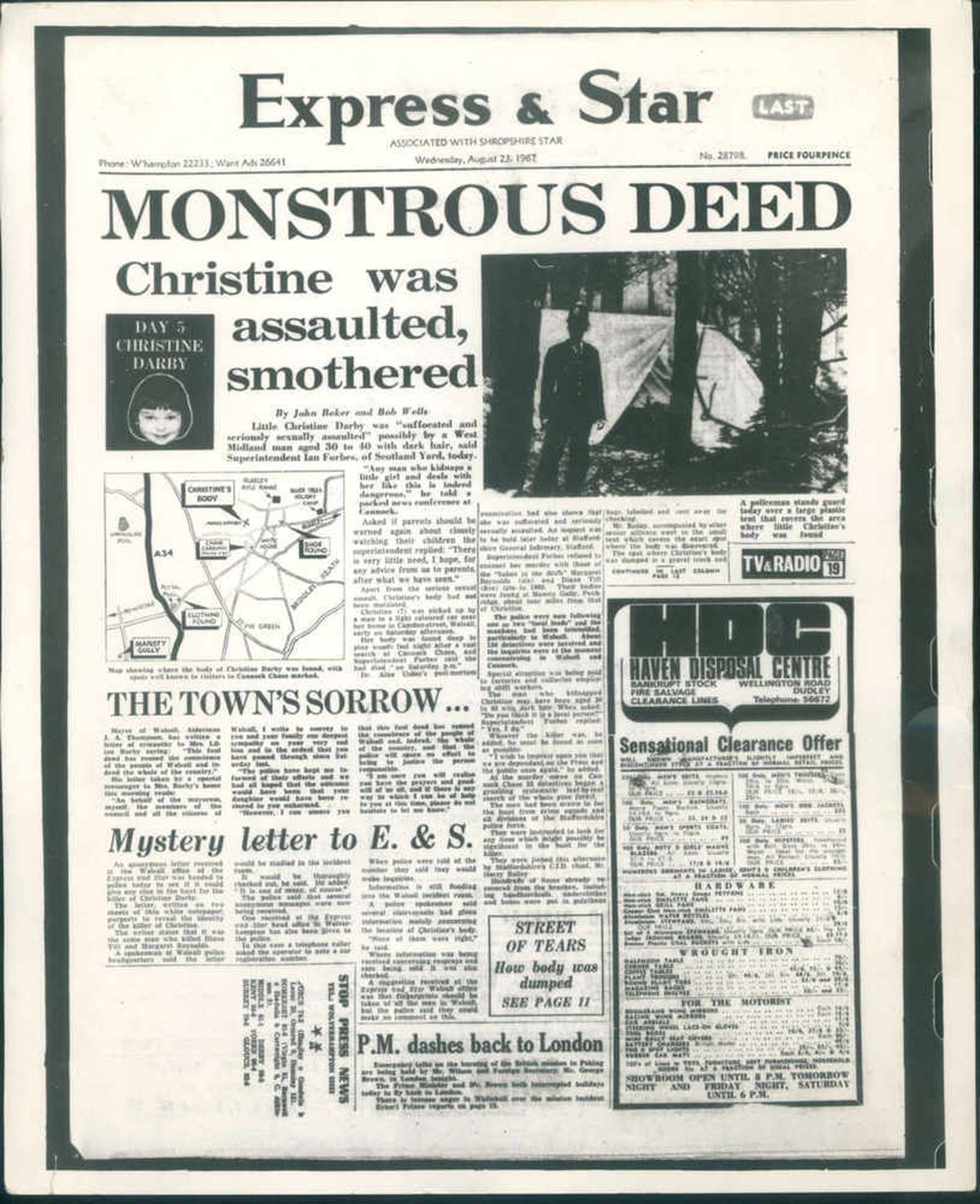 The Express & Star's front page on Raymond Morris in August 1967