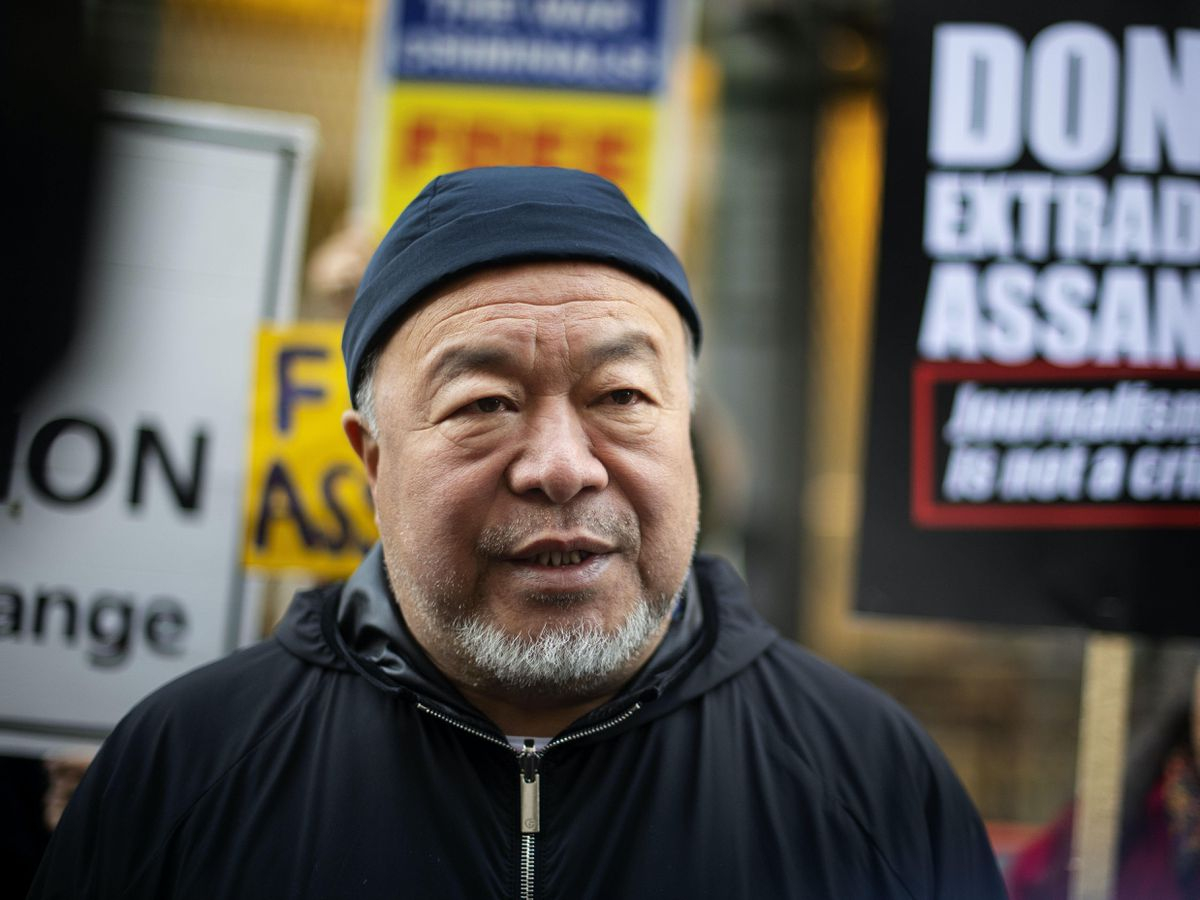 Chinese contemporary artist and activist Ai Weiwei during a silent protest outside the Old Bailey in London in support of Julian Assange