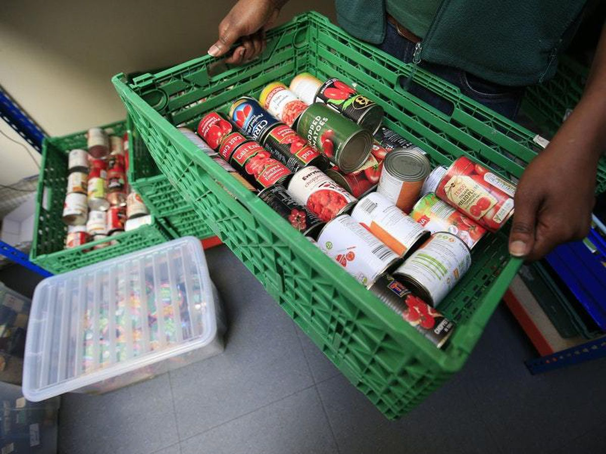 A hamper with tinned food