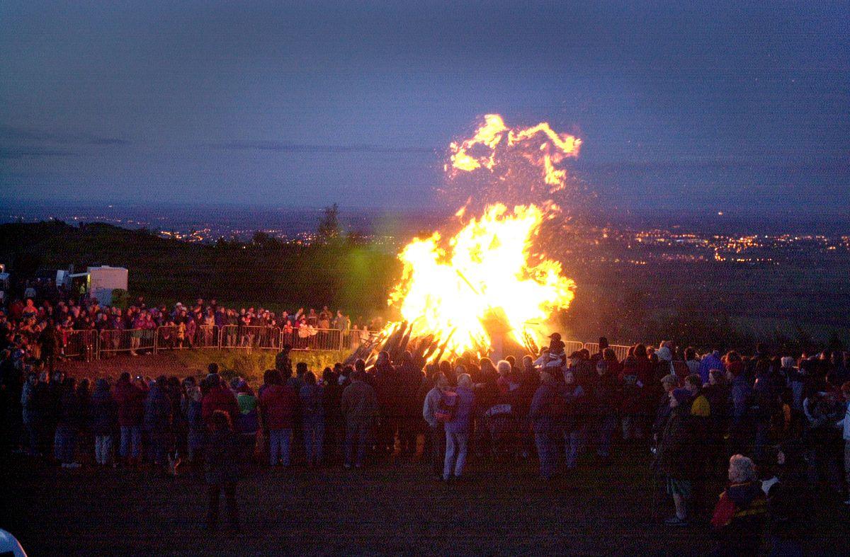 A bonfire on the Wrekin to mark the Golden Jubilee in 2002