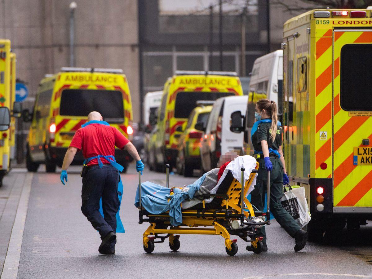 Coronavirus patient arrives in an ambulance