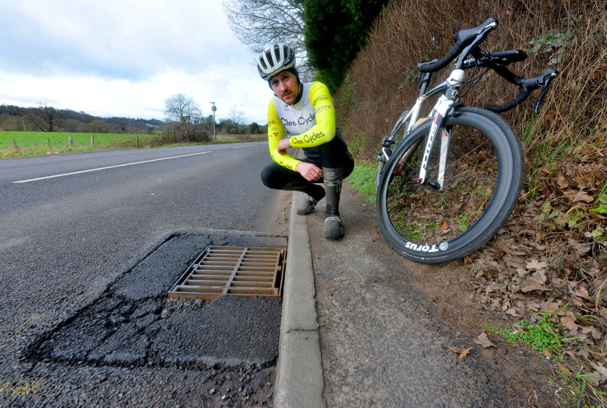 Cyclist Nick Morris says potholes on Shropshire's roads are an accident waiting to happen for people travelling on two wheels