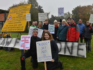 Campaigners against the work on Meole Brace roundabout