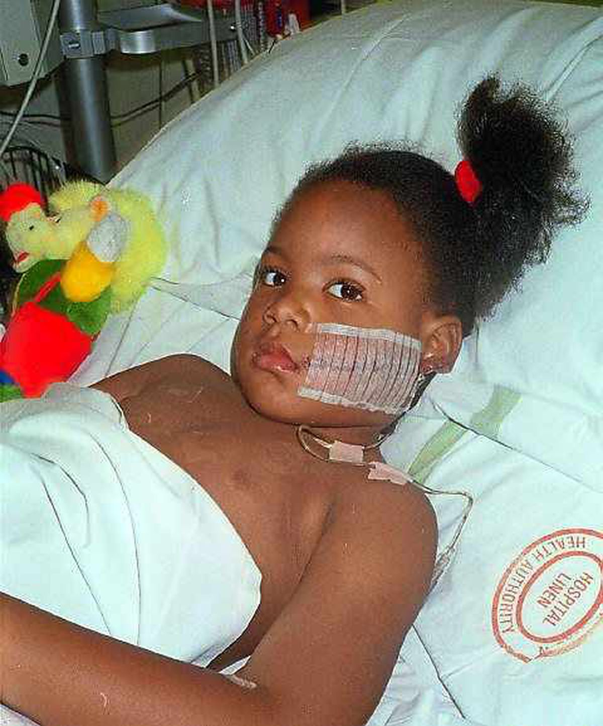 Francesca in hospital as a four-year-old in 1996