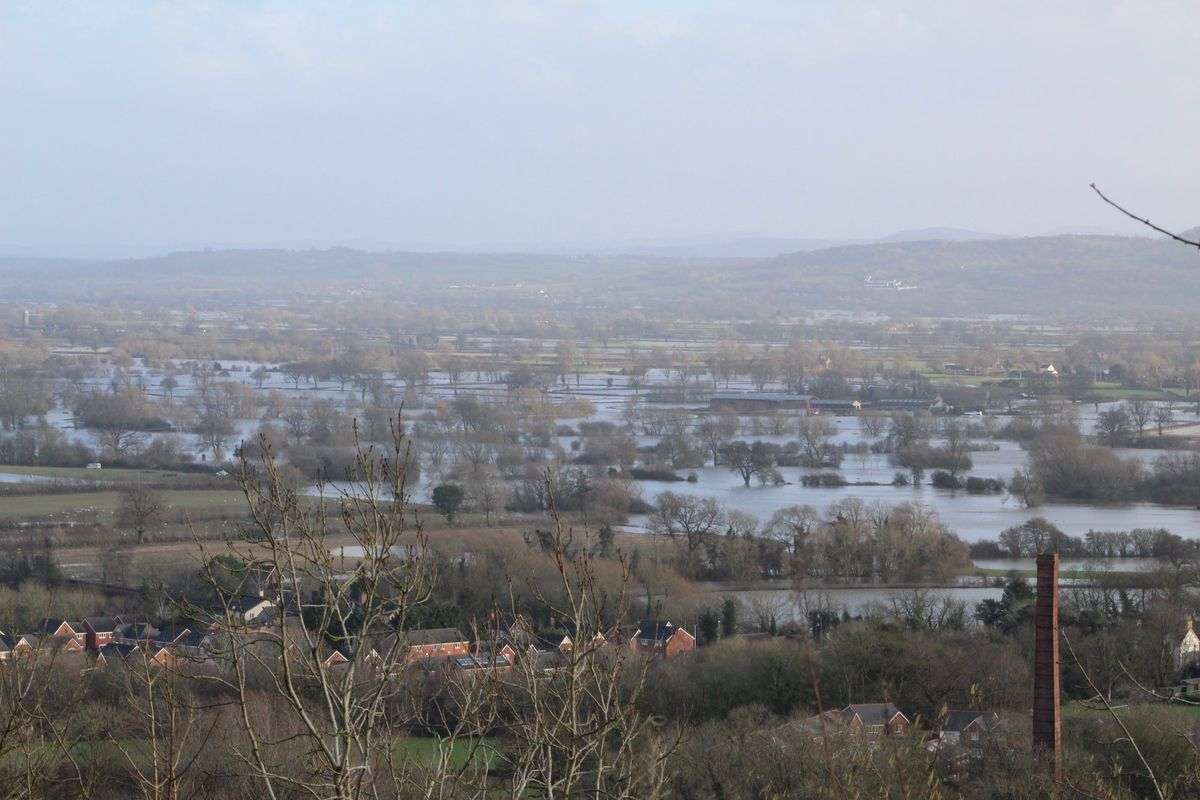 The A483 closed south of Llanymynech and flooded fields at Pant and Llanymynech. Pic: Diane Rogers