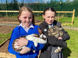 Shaynie Hollis, left, and Megan Williams helping the rabbits with their sunbathing
