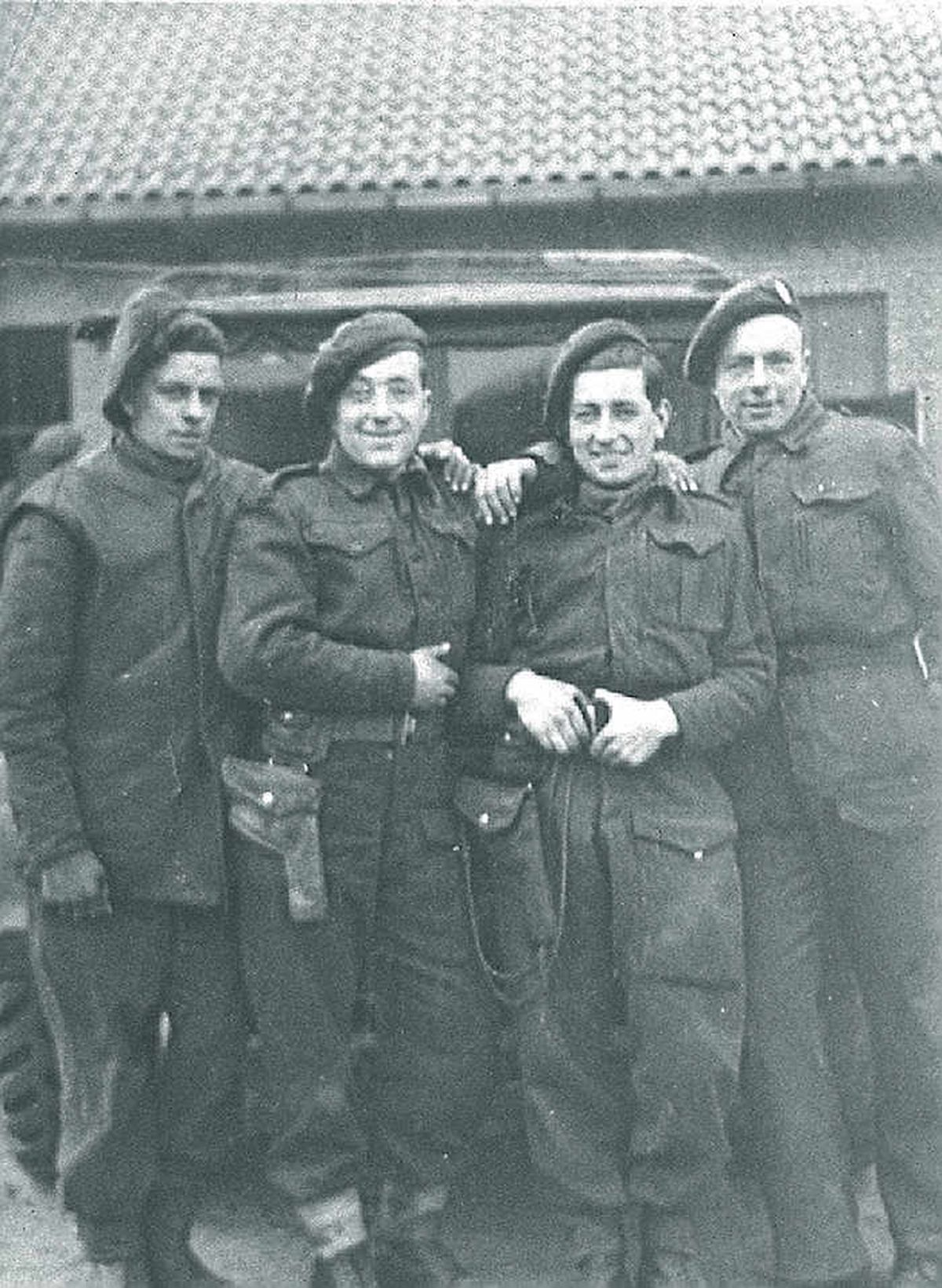 Fred Williams, second from right,  in Normandy in 1944
