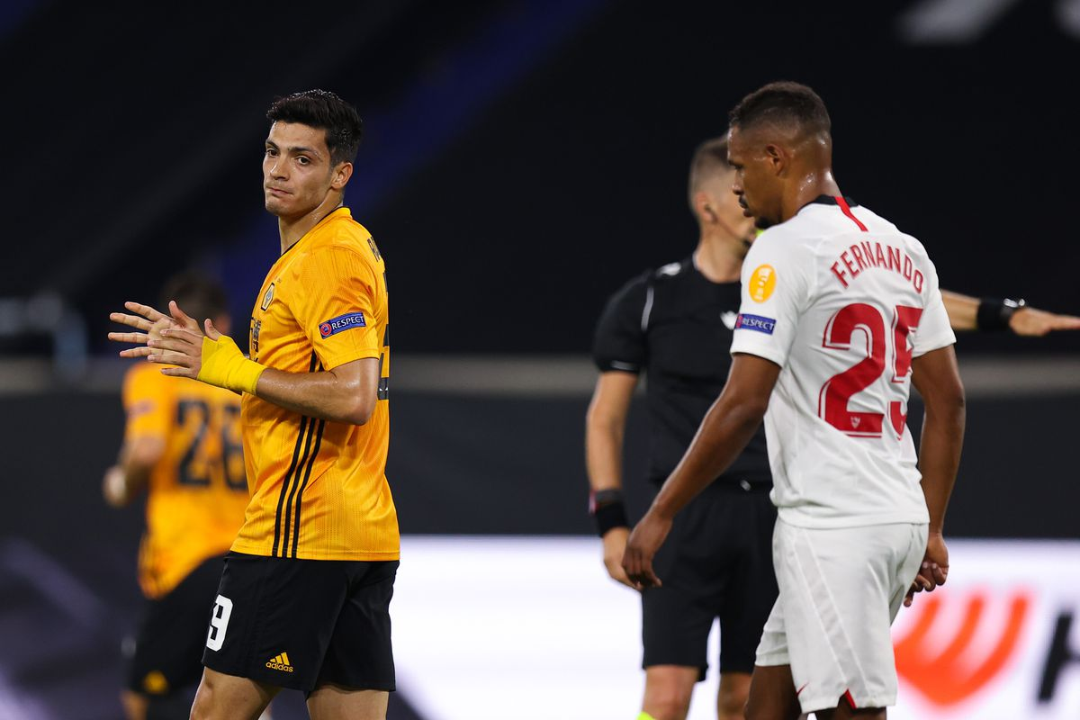 Raul Jimenez of Wolverhampton Wanderers reacts after missing a first half penalty (AMA)