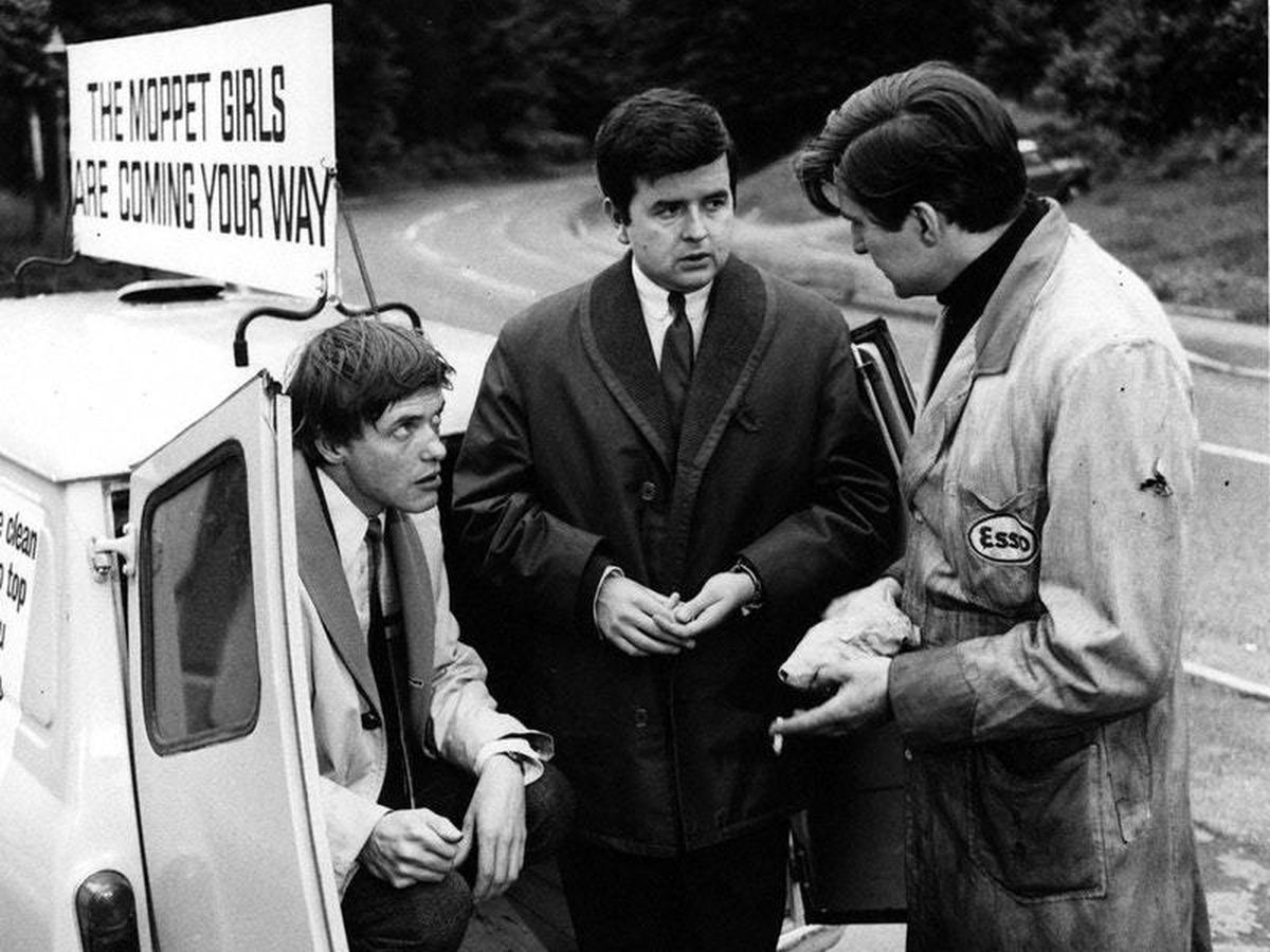 James Bolam as Terry, left, and Rodney Bewes as Bob, centre, in The Likely Lads (BBC)
