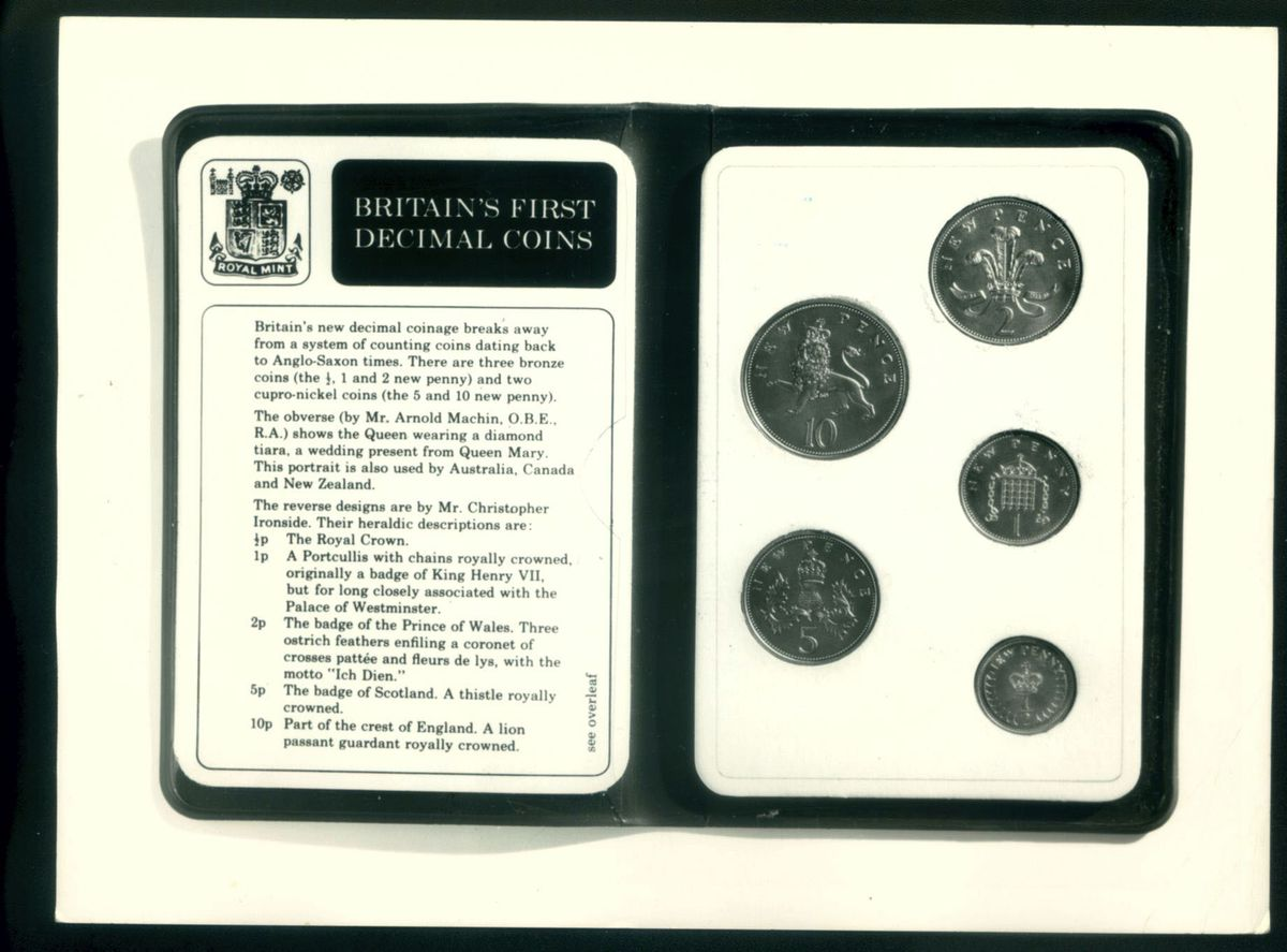 The new decimal coins – and the old sixpence, which would remain until 1980