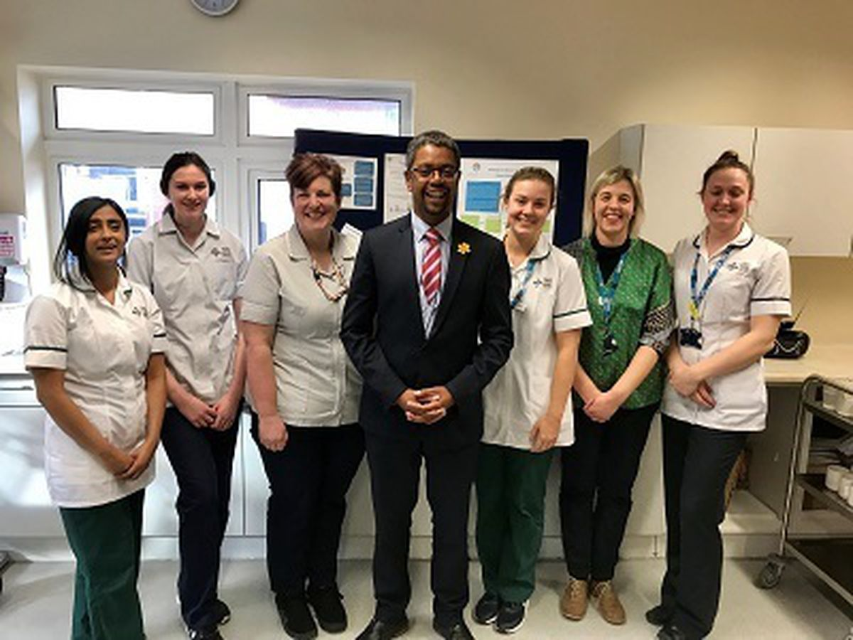 Welsh Government Health Minister Vaughan Gething - visiting Llandrindod County War Memorial hospital in March 2020 to see the Phase One redevelopments