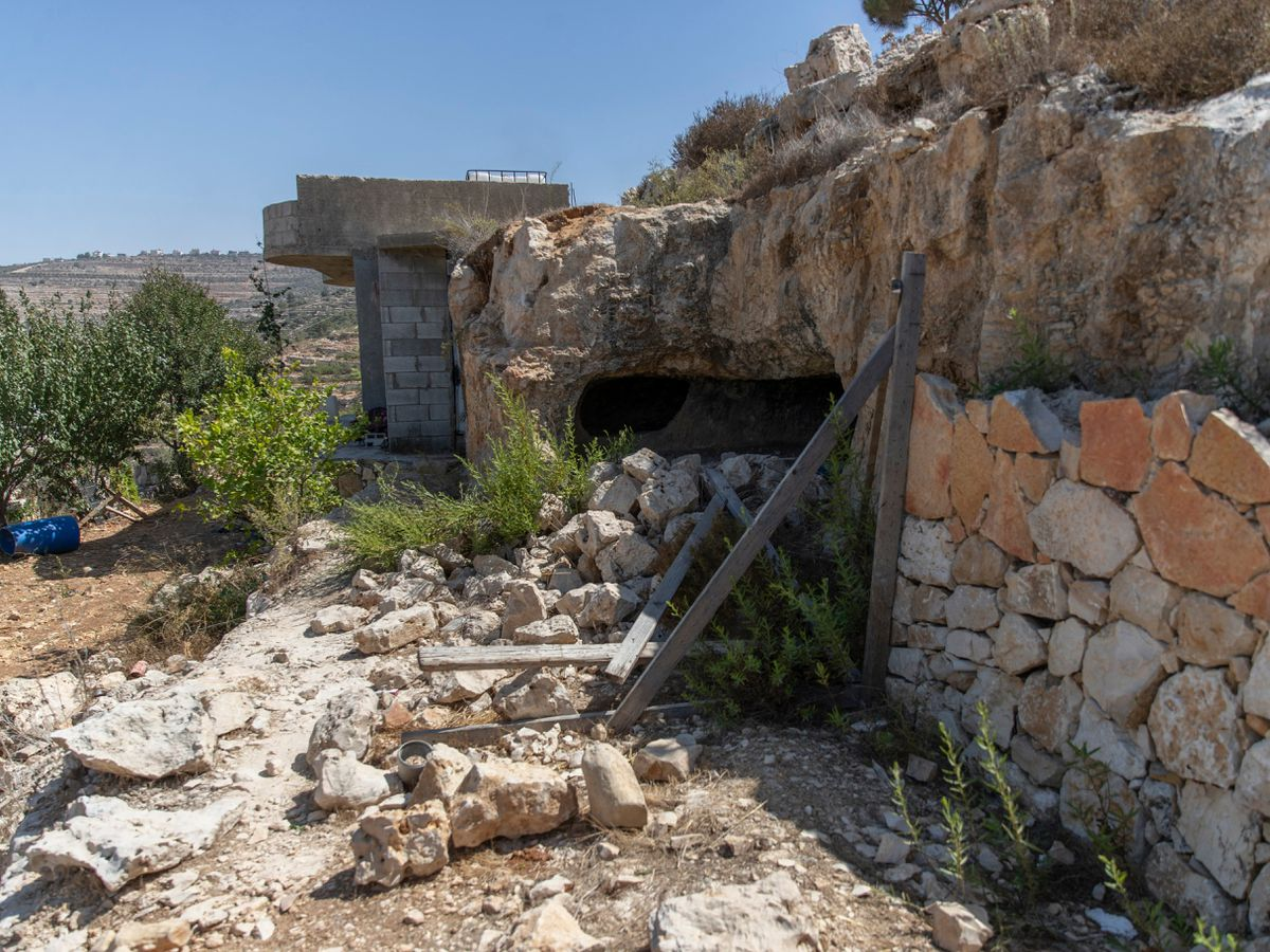The scene of an Israeli army operation in the West Bank village of Beit Anan, west of Ramallah