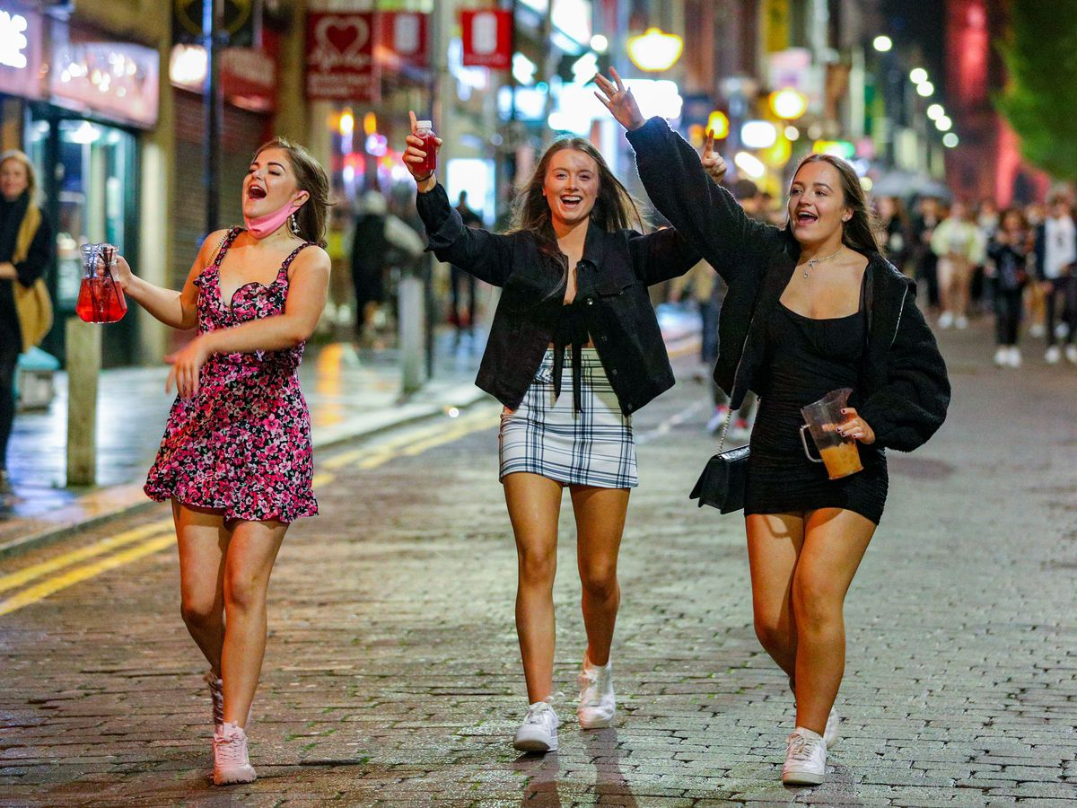 People out socialising in Liverpool city centre before lockdown (Peter Byrne/PA)