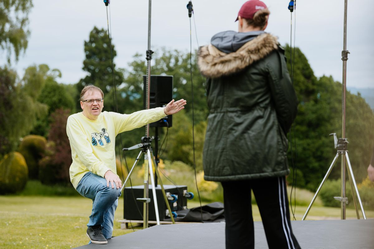 Here to There Productions rehearsing for King Lear at Stokesay Court. Pictured is producer Andrew Whittle