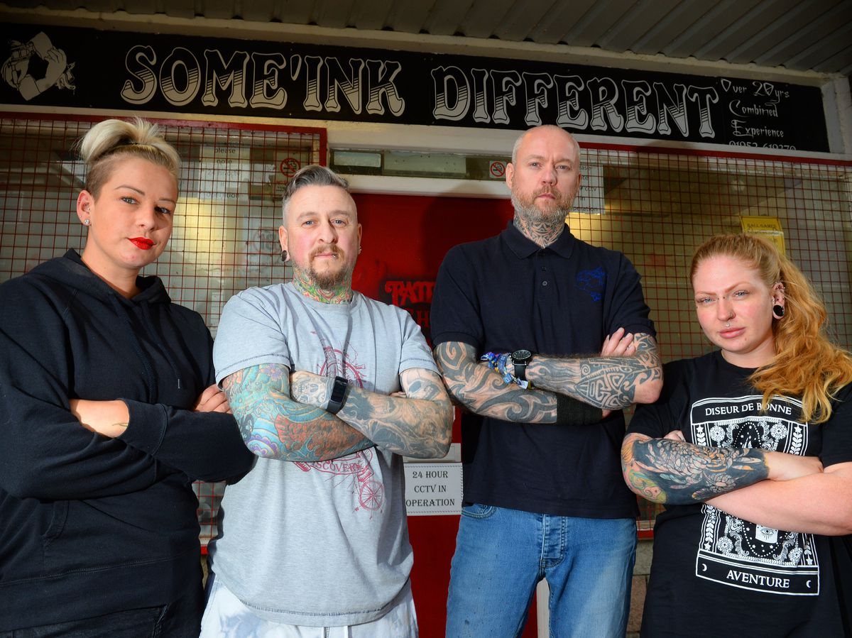 Staff members Jayde Dauncey, Rob Saxon, Garth Cole-Jones and Char Guy at Some'ink Different tattoo parlour
