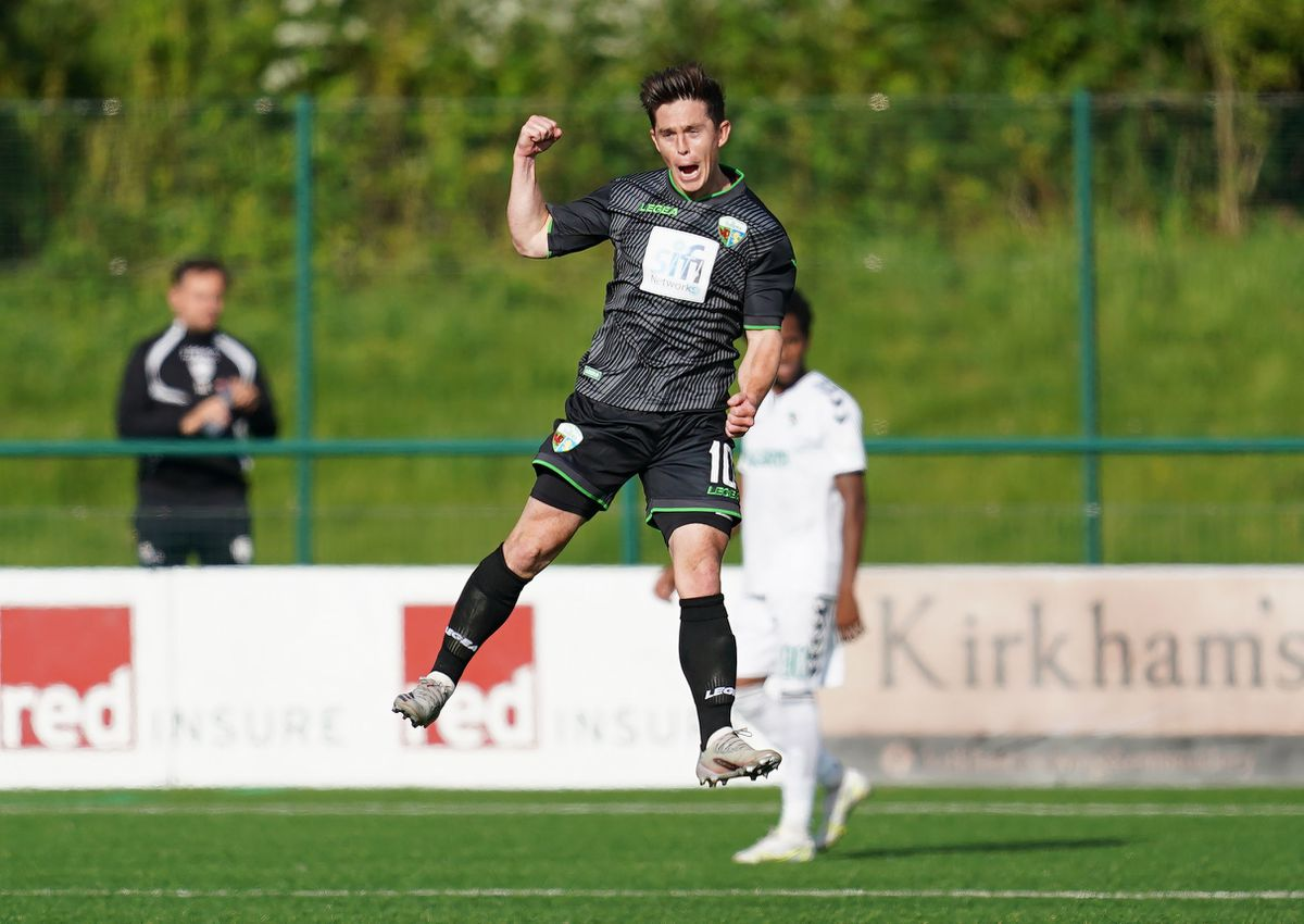 The New Saints' Daniel Redmond celebrates scoring their side's first goal of the game during the UEFA Europa Conference League