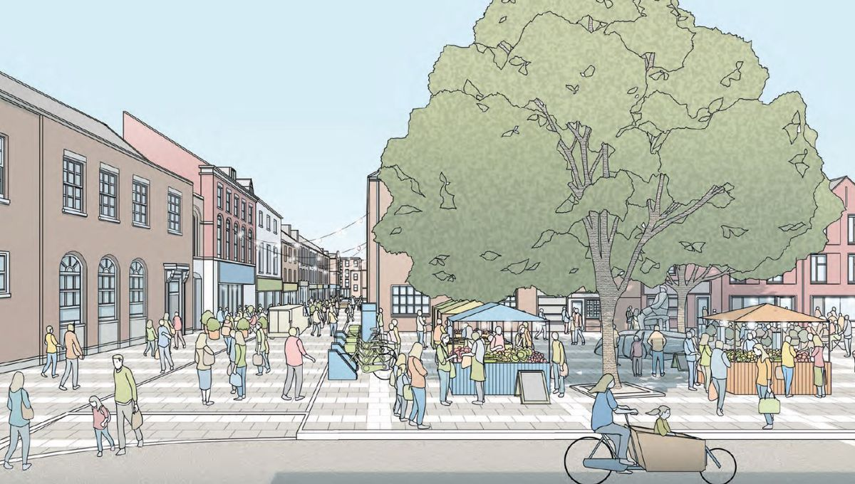 An artist's impression of Festival Square in Oswestry
