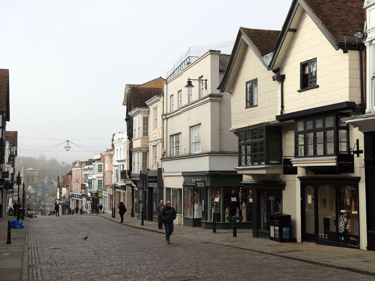 An empty high street in Guildford, Surrey