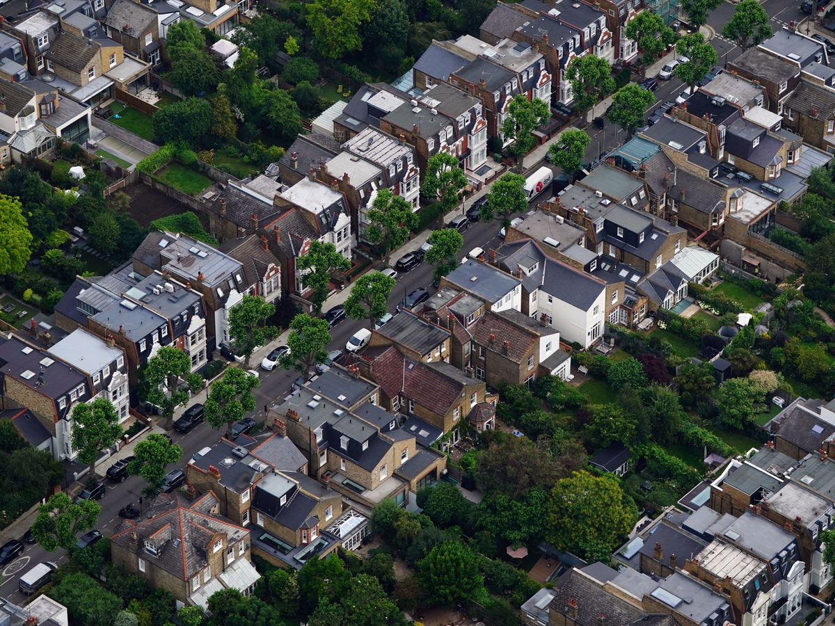 An aerial view of terraced housing in west London. (Victoria Jones/PA)