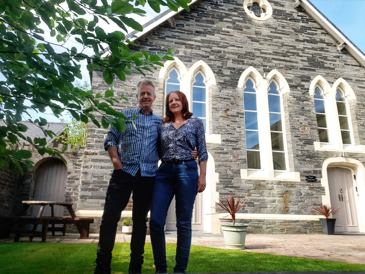 Martin and Sue Stephenson in front of the converted chapel