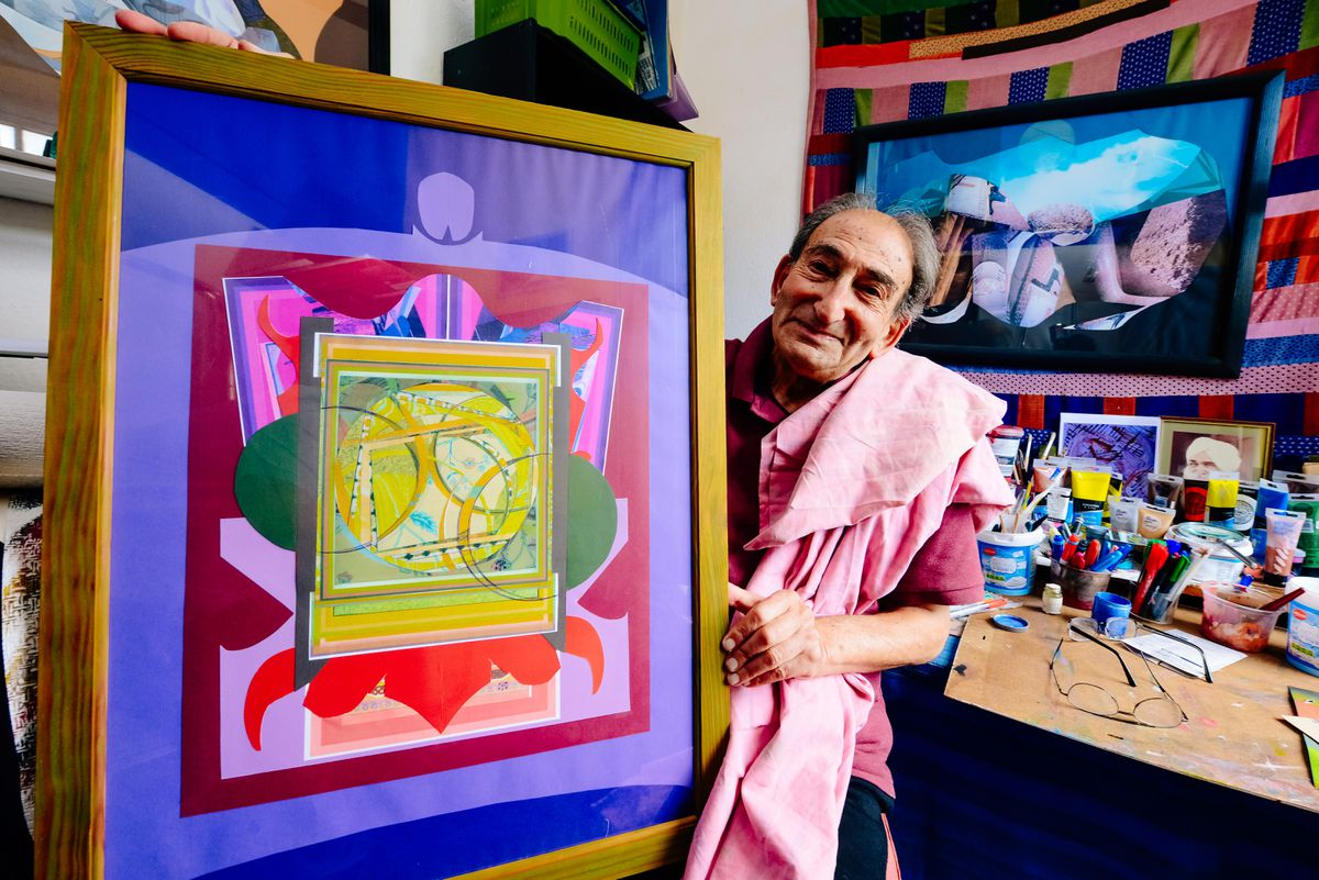 Malcolm Tillis with one of his colourful collages