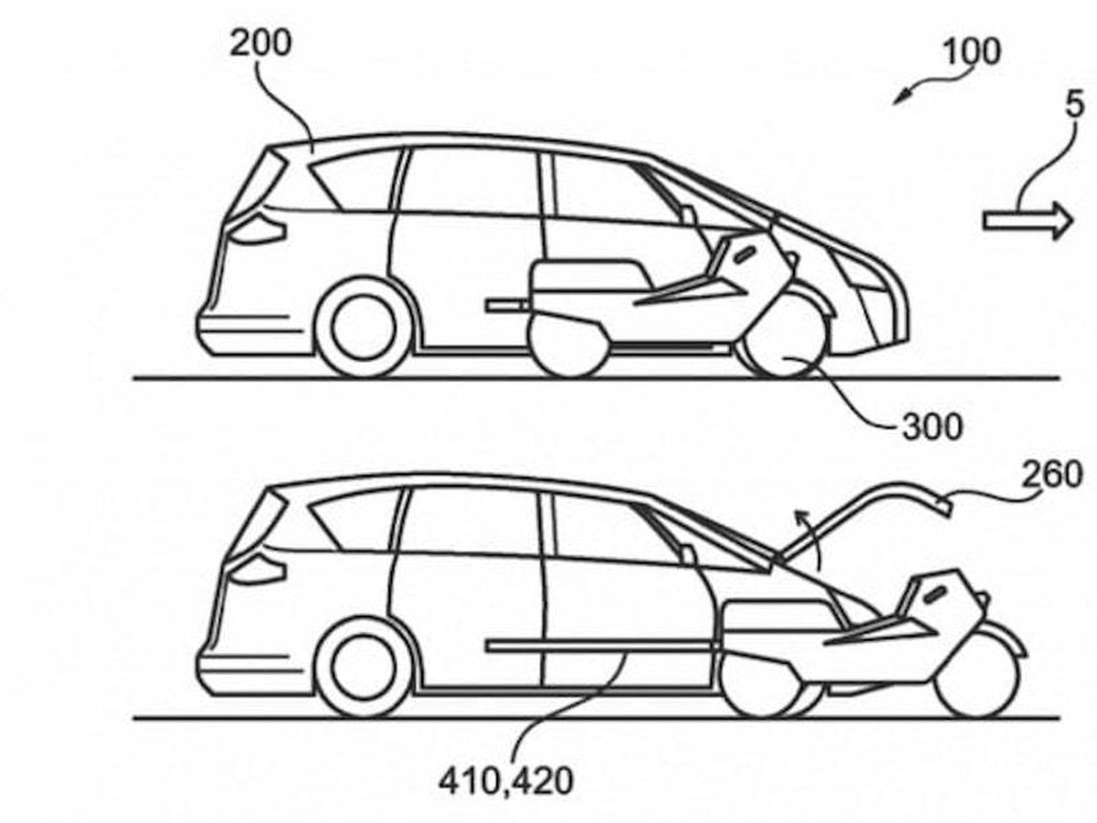 Ford Files Patent For Vehicle With Integrated Electric Motorcycle