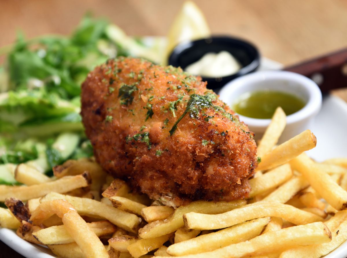 Hello chook – chicken Kiev with fries and salad