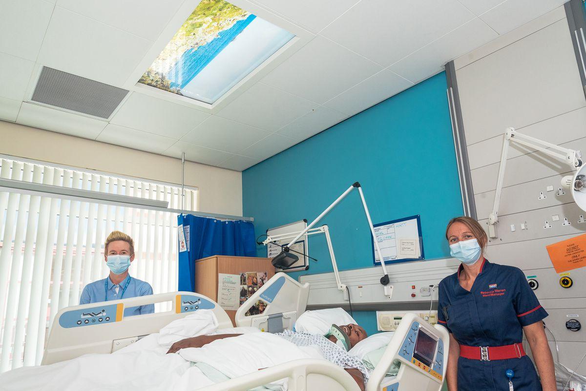 From left, Stacey Keegan, chief nurse, patient Faisal Jama and Rebecca Warren, MCSI ward manager