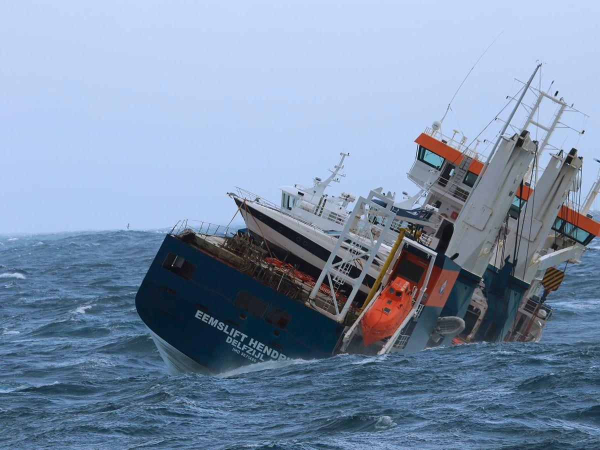 The unmanned Dutch cargo ship Eemslift Hendrika (Coast Guard Ship Sortland/AP)