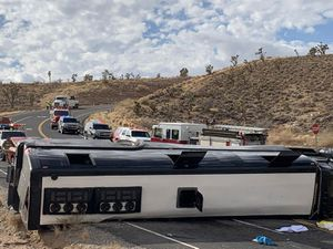 A Las Vegas-based tour rolled over in northwestern Arizona